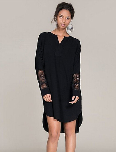 b0961f09abe0 Γυναικεία Φόρεμα Καθημερινό Πουκάμισο Patchwork Ασύμμετρο Λαιμόκοψη V  Βαμβάκι 4841905 2019 –  16.99