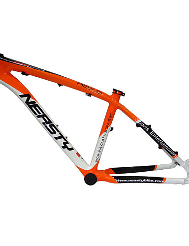 "cheap Bike Frames-Neasty Brand MB-NT02 Full Carbon Fiber MTB Frame Orange white Color 26er Frame 15""/17"""