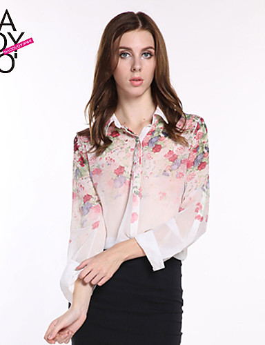 billige Dametopper-Skjorte Blomstret Regnbue