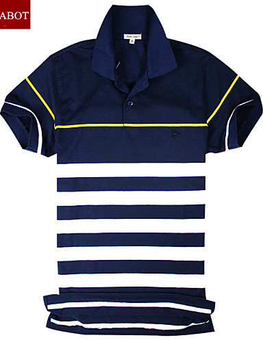 John Cabot 2015 Brand Fashion Polo Shirt Stripes Logo Men Short