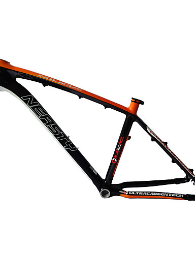 "cheap Bike Frames-Neasty Brand MB-NT02 Full Carbon Fiber MTB Frame Orange Decal 26er Frame 15""/17"""