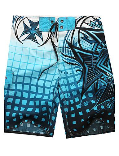 voordelige Herenondergoed & Zwemkleding-Heren Bloemen Grijs Groen Blauw Slips, shorts en broeken Zwemkleding - Gestreept Kleurenblok M L XL Grijs