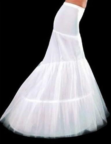 preiswerte Hochzeits Petticoats-Unterhosen Meerjungfrau- und Trompetenstil Kapellen-Schleier Bodenlänge 3 Polyester Weiß
