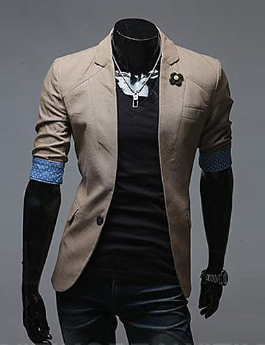 levne Pánské blejzry a saka-Ležérní Standardní Blejzr, Jednobarevné Dlouhý rukáv Směs bavlny / Tvíd Černá / Modrá / Khaki