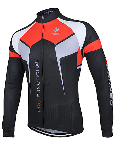 cheap Re11-Select The Best Cycling Jersey & Pants Sets-Arsuxeo Men's Long Sleeve Cycling Jersey Black White Purple Patchwork Bike Jacket Jersey Top Mountain Bike MTB Road Bike Cycling Breathable Quick Dry Anatomic Design Sports 100% Polyester Clothing