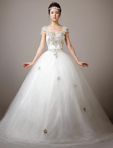 Hochzeitskleid - Weiß Spitze/Tüll - Prinzessinnen-Linie - Blusher ...
