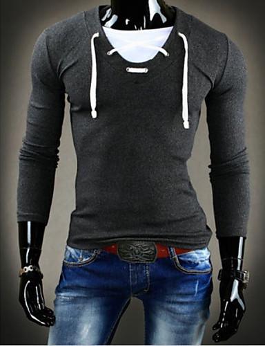 levne Pánská tílka-Pánské - Jednobarevné Tričko Bavlna Kulatý Tmavě šedá / Dlouhý rukáv