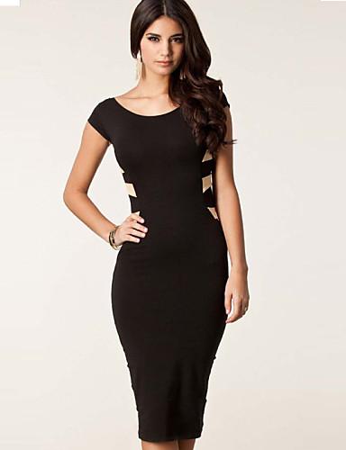 6e79a41bd484 morefeel σέξι στρογγυλό γιακά κοντό μανίκι εξώπλατο μακρύ φόρεμα των  γυναικών 2985543 2019 –  3.99