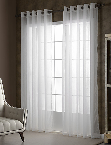 cheap Sheer Curtains-Sheer Curtains Shades One Panels Bedroom Solid Colored Polyester Embossed