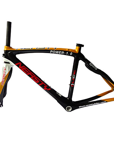 cheap Bike Frames-Neasty Brand 700C Full Carbon Fiber Frame and Fork 3K Gold Color Decal Carbon Black 48/50/52/56CM