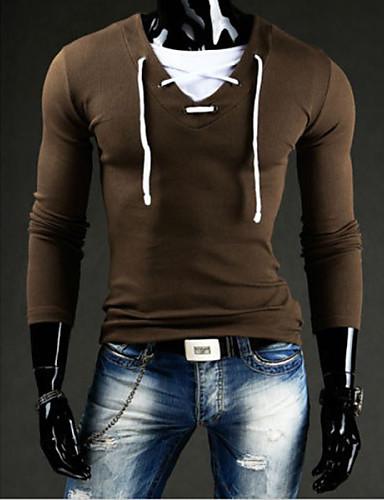 voordelige Heren T-shirts & tanktops-Heren T-shirt Katoen Effen Ronde hals donkergrijs / Lange mouw