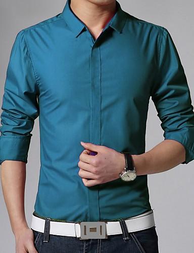 levne Pánské košile-Pánské - Jednobarevné Práce Business Košile, Základní Klasický límeček Štíhlý Modrá / Dlouhý rukáv