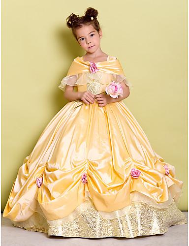 levne Krásné šaty-Plesové šaty Na zem Šaty pro květinovou družičku - Taft Bez rukávů Pod rameny s Mašle / Květiny podle LAN TING BRIDE®