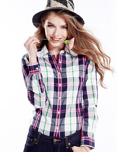 billige Dametopper-Bomull Skjorte Dame - Rutet Lyseblå