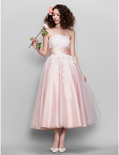 e710bd09412 A-Line   Fit   Flare Strapless Ankle Length Tulle   Stretch Satin Cocktail  Party   Prom Dress with Lace   Ruched by TS Couture®  02594915
