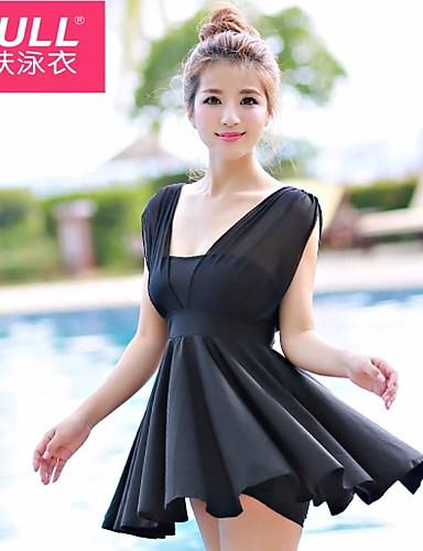 povoljno Ženske majice-Žene Jednobojno Visokog struka Crn Navy Plava Fuksija Jednodijelno Kupaći kostimi - Jednobojni Crn