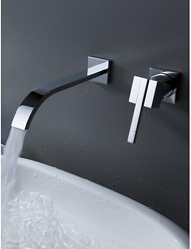 preiswerte Seitendüse-Badewannenarmaturen - Moderne Chrom Wandmontage Keramisches Ventil Bath Shower Mixer Taps / Einzigen Handgriff Zwei Löcher