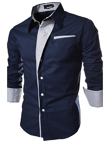 cheap Men's Shirts-Men's Plus Size Solid Colored Basic Slim Shirt Daily Spread Collar White / Black / Navy Blue / Spring / Fall / Long Sleeve