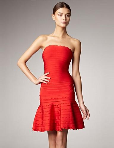 0973a37e93075 Fiesta cóctel Vestido - Rojo Blanco Negro Corte A Corto - Strapless  Spandex Rayón Tafetán de nylon 3593192 2019 –  99.99