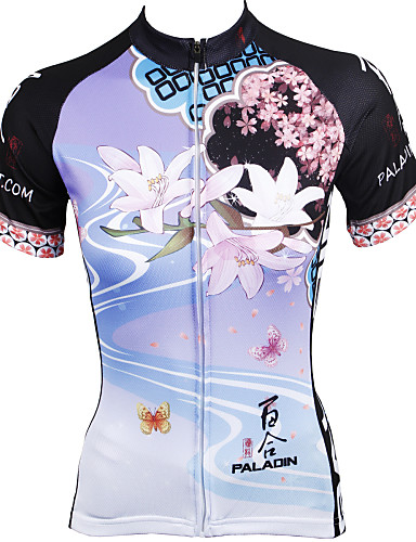 cheap Massive Clearance Sale-ILPALADINO Women's Short Sleeve Cycling Jersey Polyester Rainbow Purple Floral Botanical Bike Jersey Top Mountain Bike MTB Road Bike Cycling Breathable Quick Dry Ultraviolet Resistant Sports Clothing