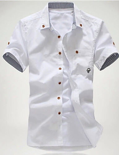 voordelige Uitverkoop-Heren Print Grote maten - Overhemd Strand Effen Buttondown boord Slank Wit / Korte mouw / Zomer