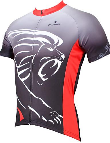 tanie Totalne Wietrzenie magazynów-ILPALADINO Męskie Krótki rękaw Koszulka rowerowa Poliester Szary Zwierzę Lew Rower Dżersej Top Kolarstwo górskie Kolarstwie szosowym Oddychający Szybkie wysychanie Odporność na promieniowanie UV Sport