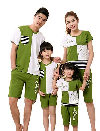 preiswerte Ausverkauf-Gestreift Kurzarm Standard Baumwolle T-Shirt Marinenblau
