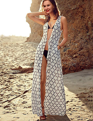 0b876330f8 Hot Selling Women s Summer Sexy Sarongs Plaid Pattern Beach Top Sleeveless  Chiffon Fashion Long Swimsuit Cover ups 4088986 2019 –  15.74