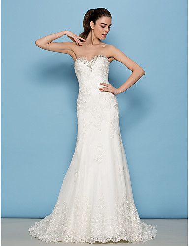 LAN TING BRIDE Sheath / Column Wedding Dress Floral Lace Sweep ...