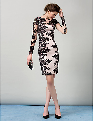 32bb1857341 Sheath   Column Boat Neck Knee Length Stretch Satin   Lace Over Satin  Cocktail Party Dress with Buttons   Lace Insert by TS Couture®   Illusion  Sleeve ...