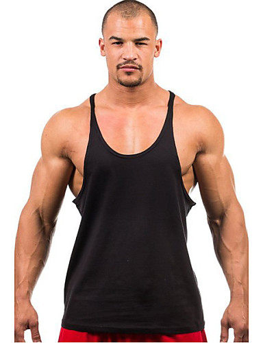 cheap Men's Clothing-Men's Tank Top Solid Colored Basic Tops Active Round Neck White Black Yellow / Sports / Summer / Sleeveless