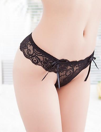 Dam Bomull / Nylon / Spets Super Sexy String / Ultrasexig trosa / Sömlös - Enfärgad, Nät Medium Midja