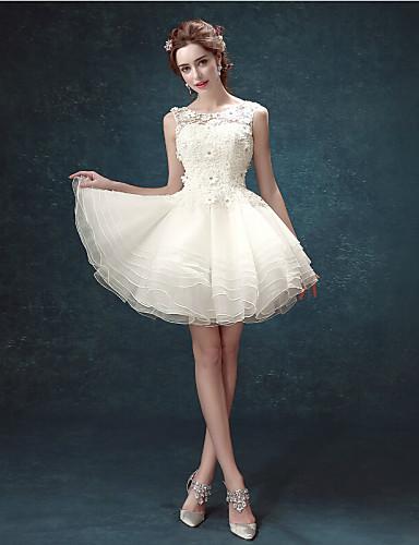 109420488099 Γραμμή Α Scoop Neck Κοντό   Μίνι Δαντέλα Φορέματα γάμου φτιαγμένα στο μέτρο  με Χάντρες   Διακοσμητικά Επιράμματα   Σε επίπεδα με   Μικρά Άσπρα Φορέματα  ...