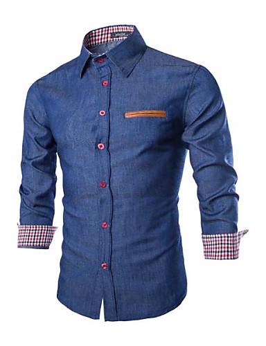 voordelige Herenoverhemden-Heren Standaard Overhemd Effen Spread boord Slank Donkerblauw / Lange mouw / Lente / Herfst