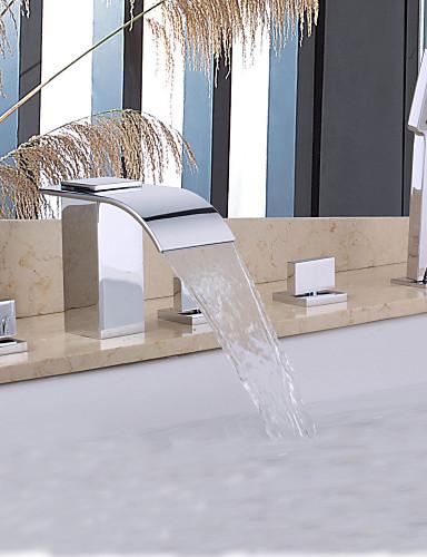 preiswerte Seitendüse-Badewannenarmaturen - Moderne Chrom Badewanne & Dusche Keramisches Ventil Bath Shower Mixer Taps / Messing / Zwei Griffe Fünf Löcher