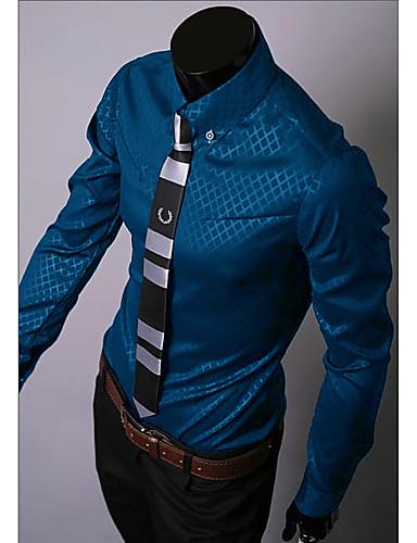 voordelige Herenoverhemden-Heren Overhemd Werk Ruitjes Donkerblauw / Lange mouw