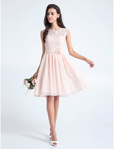 cheap Bridesmaid Dresses-A-Line Scoop Neck Knee Length Lace Bodice Bridesmaid Dress with Lace / Sash / Ribbon / Flower