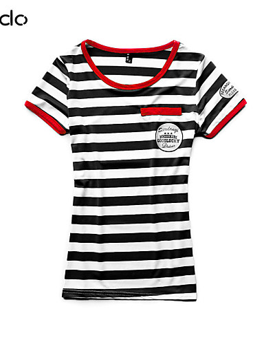 billige T-skjorter til damer-T-skjorte Dame - Stripet / Lapper Gatemote Svart