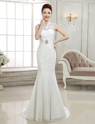 cheap Wedding Dresses-Mermaid / Trumpet High Neck Sweep / Brush Train Lace Cap Sleeve Sexy Illusion Detail / Backless Wedding Dresses with Beading / Appliques 2020