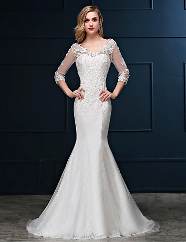 cheap Wedding Dresses-Mermaid / Trumpet Wedding Dresses V Neck Sweep / Brush Train Lace Over Tulle 3/4 Length Sleeve Romantic Glamorous Sparkle & Shine Backless Illusion Sleeve with Beading Appliques 2020