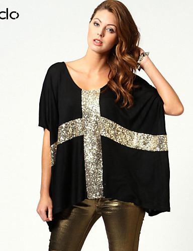 billige Dametopper-T-skjorte Lapper, Paljetter Hvit