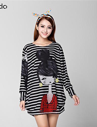 billige Dametopper-T-skjorte Dame - Stripet, Trykt mønster Fuksia