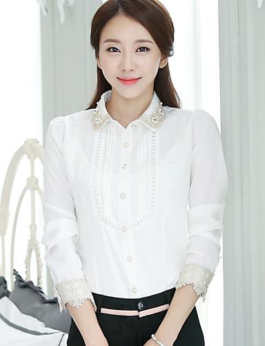 2e6eefa8311 Dámské Jednobarevné Společenské Jednoduché Košile-Léto Košilový límec Dlouhý  rukáv Bílá Tenké 3924540 2019 –  20.15