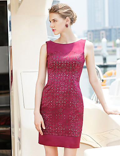 72a78cb4a90a Φόρεμα Κοκτέιλ Πάρτι - Θήκη Στήλη Κόσμημα Κοντό Μίνι Σατέν ...
