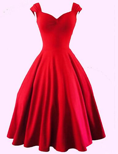 voordelige Sexy jurken-Dames Grote maten Feest Uitgaan Vintage Katoen A-lijn Jurk - Effen Sweetheart Tot de knie Rood