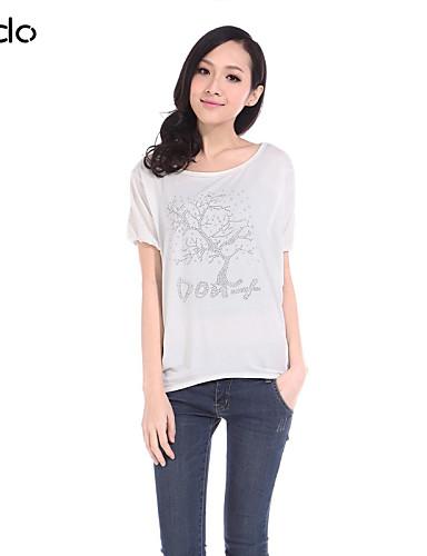 billige Dametopper-Bomull T-skjorte Rynket / Trykt mønster Gul