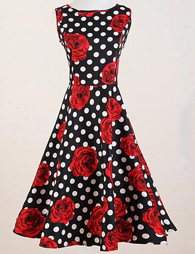 9989926ac55 Vintage λεπτό πουά γυναικών αυξήθηκε εκτύπωσης αμάνικο φόρεμα κούνια  3935910 2019 – $29.99