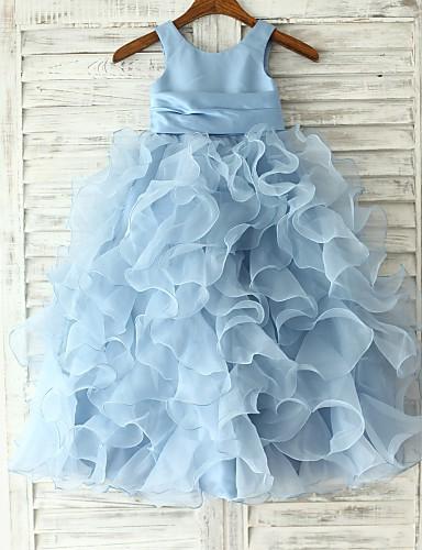 levne Krásné šaty-Princess / Pouzdrové Na zem Šaty pro květinovou družičku - Organza Bez rukávů Klenot s Šerpa / Stuha / Květiny podle LAN TING Express