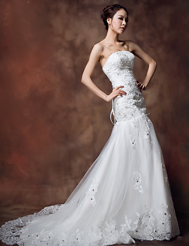 Vestidos de novia corte sirena con tirantes