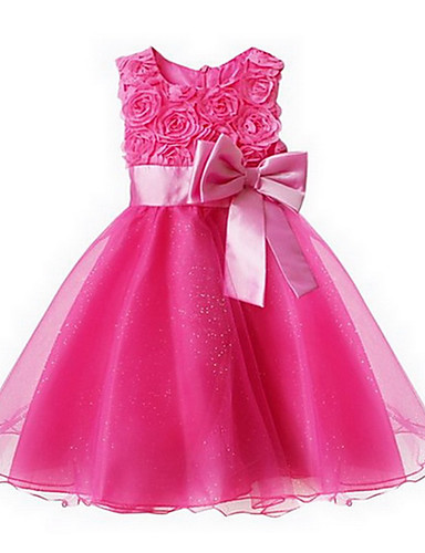 olcso Legnépszerűbb-Kisgyermek Lány Édes Hercegnő Parti Virágos Csokor Többrétegű Ujjatlan Ruha Rózsaszín